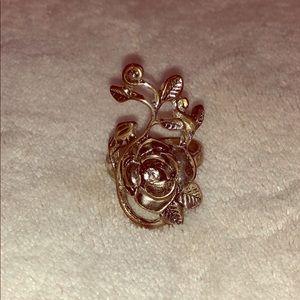 Silver Rose Thumb ring w/ rhinestone